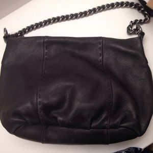 Black pebbled leather Calvin Klein chain tote hobo
